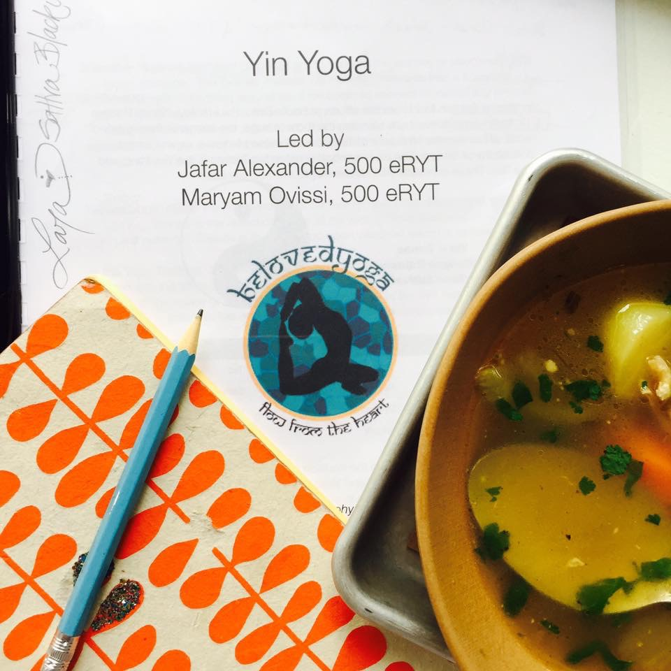 Yin yoga training under my belt and soup in my belly.